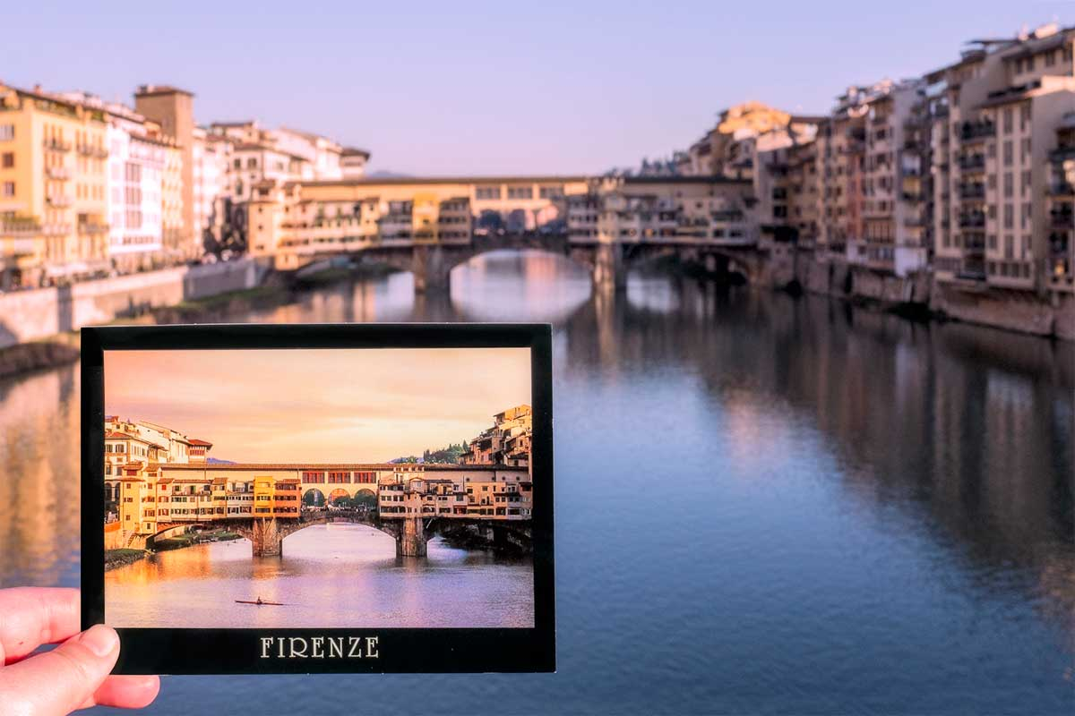 Real vs historical postcard of Ponte Vecchio bridge, Florence (Italy)